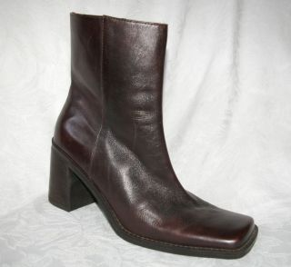 Nine West Briane Brown Leather Ankle Boots Womens 8 M