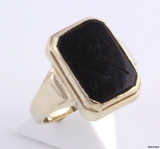 Needham B Broughton Onyx High School Class Ring 10K Yellow Gold Solid