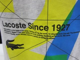 NWT Mens s Lacoste Sport Since 1927 T Shirt 100 Cotton Euro 4 Gray