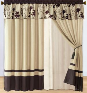 brown beige flocking faux silk curtain set includes 2 separate panels