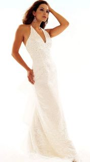 NWT Jessica McClintock Ivory Halter Wedding Bridal Gown Size 6