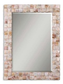pink mother of pearl mosaic tile rectangle wall mirror time