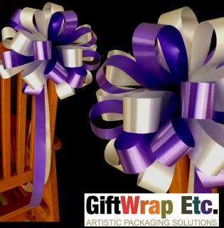 10 Purple Silver Wedding Bows Pew Chair Table Church Shower Party