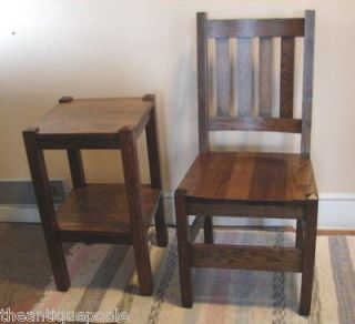 & Crafts Era Dark OAK Side Chair & Sm Sq lamp/plant Stand Table Rfn