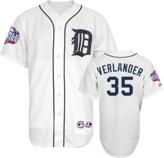 Justin Verlander 2012 Detroit Tigers World Series Home Jersey Mens Sz
