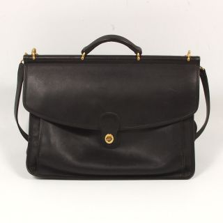 Coach Beekman Black Leather Briefcase Messenger Shoulder Bag