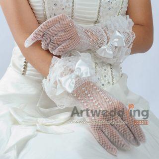 11Ivory Lace Bowknot Proms Wedding Bridal Wrist Gloves