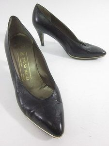 BRUNO MAGLI Black Leather Gold Tone Trim Pointed Toe Pumps Heels Size
