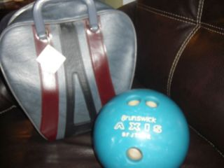 Vtg Brunswick Bowling Ball 12 lbs and Bag