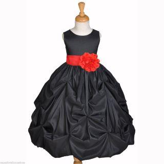 Black Red Taffeta Holiday Wedding Party Flower Girl Dress 6M 12M 2 3T