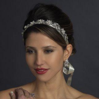 Ivory Pearl and Crystal Bridal Ribbon Wedding Headband