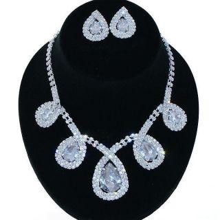 Bridal Wedding Jewelry Set Rhinestone Large Teardrop