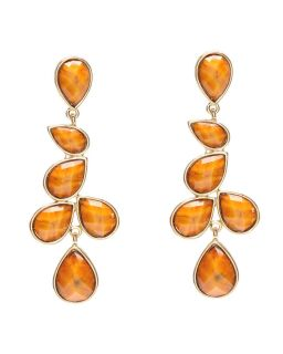 Amrita Singh Teardrop Linear Earrings Honey Gold