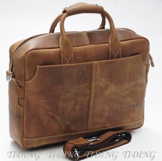 Mens Full Grain Leather Briefcases Messenger 17 Laptop Bags Tote