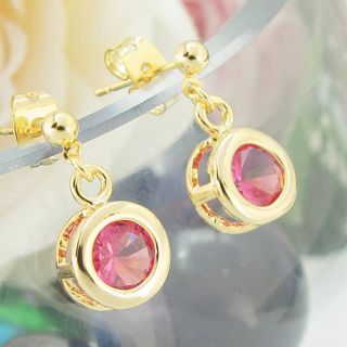 2x8mm Pink Sapphire Oval Cut 18K Yellow Gold Plated Long Stud Dangle