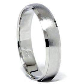 Beveled Brushed Comfort Fit Fit Solid 14k White Gold Wedding Ring Band