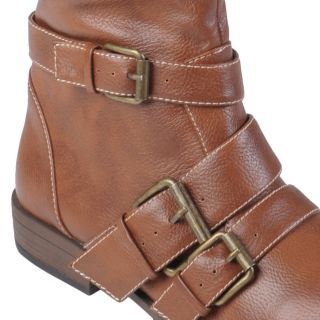 Brinley Co Womens Round Toe Buckle Detail Boots