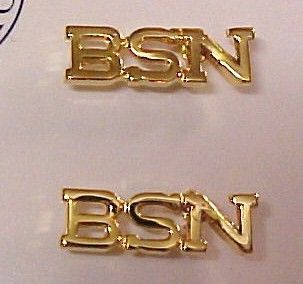 BSN Nurse Medical Lapel Pin Tac Set of 2 Gold Plate
