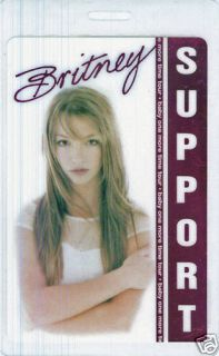 Britney Spears Laminated Concert Tour Backstage Pass