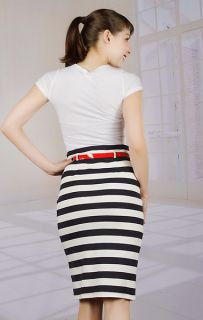 BROAD MINDED CLOTHING NAVY BLUE & WHITE STRIPED PENCIL SKIRT WITH RED