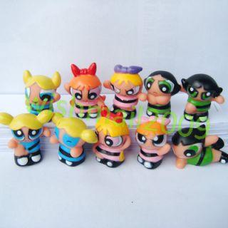 Set of 10 pcs Powerpuff Girls BUTTERCUP BLOSSOM BUBBLES figures action