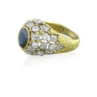 Buccellati 18K Gold Diamond Sapphire Cocktail Ring