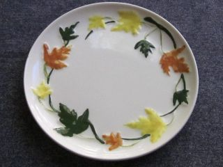 Brock of California Pottery Embossed Leaf Design on White Bread Butter