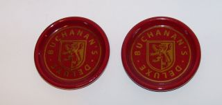 Buchanans Deluxe Scotch Whiskey Ceramic Bar Coasters Lot of 2 Plum