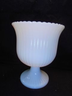 Vintage BRODY M3000 White Milk Glass Ribbed Pedestal Planter Compote