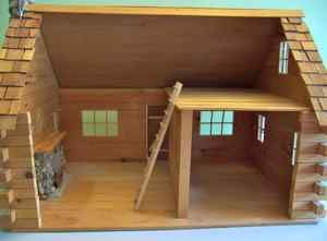 Log Cabin Dollhouse 1 inch Scale Miniature Little House on the Prairie