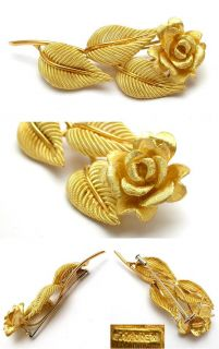 Cartier Estate Rose Flower Brooch Pin Solid 18K Yellow Gold skuwm5876