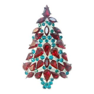 Pretty Christmas Tree Brooch Pin Ruby Rhinestone Crystal Drop