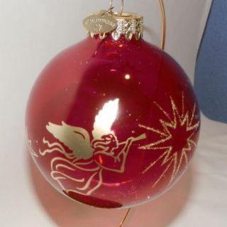 Bronners Unsilvered Cranberry Gold Angel Christmas Ornament Large 4
