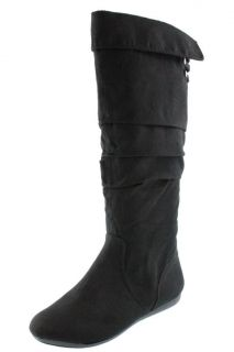 Rampage NEW Bronner Black Faux Suede Strap Embellished Knee High Boots