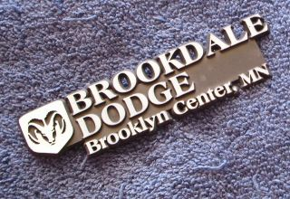 Brookdale Dodge Brooklyn Center MN vintage Car Dealer Tag badge Emblem