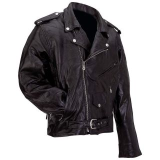 Rock Design Mens Black Genuine Buffalo Leather Motorcycle Riding