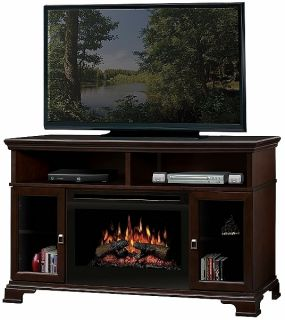 Dimplex Brookings Electric Fireplace Espresso, With Logs Embers Fire