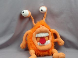 Big Crazy Orange Fuzzy Bug Eyed Monster Poseable Plush Stuffed Animal