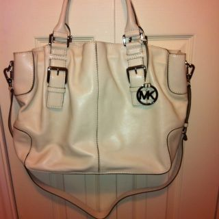 Authentic Michael Kors Brookville Large Tote Handbag Bag White RARE