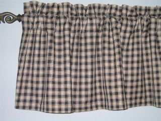 COUNTRY KITCHEN PRIMITIVE CURTAIN VALANCE BLACK TAN PLAID NEW
