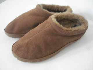 Chaps Brown Leather Slip on Moccasin Slippers Faux Fur Lining Mens 11M