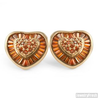 large chocolate stones rose gold cz heart earrings