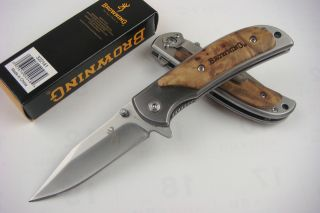 Micro Browning Folding Pocket Knife Wood Handle Camping Fishing