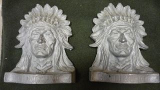 of Cast Iron Indian Chief Head Bookends Inscribed Sitting Bull