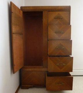 Waterfall Vintage Depression Era 3 Piece Wood Bedroom Suite