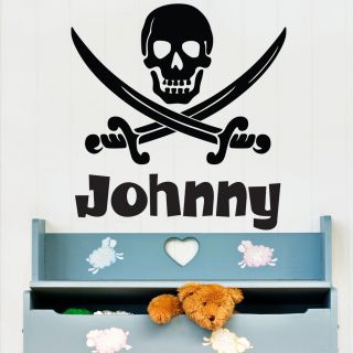 Personalised Name Pirate Scull and Cross Swords Wall Sticker Bedroom
