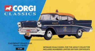 NASSAU COUNTY NY 1957 CHEVROLET BEL AIR POLICE CAR 1 43 SCALE CORGI