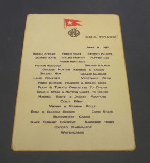 White Star Line, RMS Titanic, April 11th 1912 Breakfast Menu