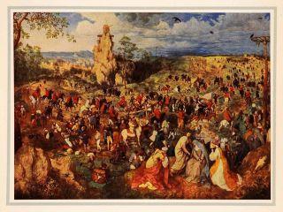 1937 Tipped In Print Pieter Brueghel Religious Art Jesus Christ Cross