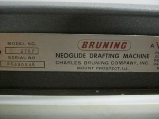 Bruning No. 2707 Neoglide Drafting Machine & 42 x 32 Adjustable